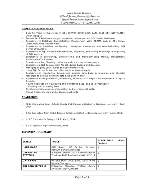 junior oracle dba sle resume 28 images oracle dba