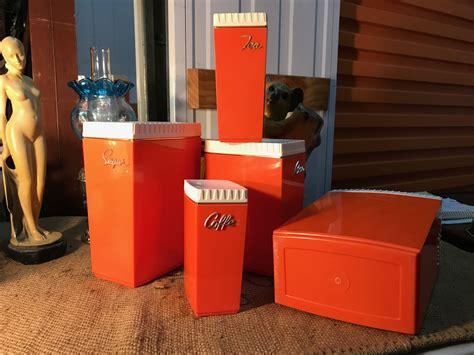 plastic kitchen canisters retro vintage australian 1960 s burnt orange plastic
