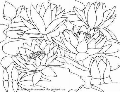 Scenery Mountain Drawing Coloring Pages Adults Flower