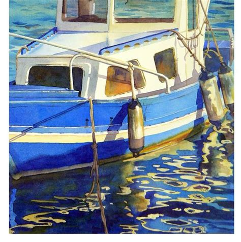 What S Fishing Boat In Spanish by Boat Art Print Watercolor Painting A Spanish Seascape