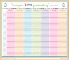 Excel Daily Planner Template 5 Printable Hourly Weekly Schedule Planner Receipts Template