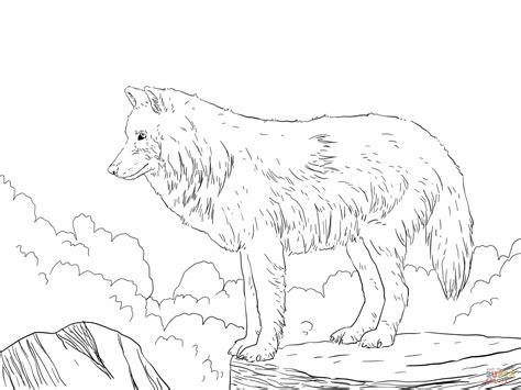 Coloriage Loup Arctique Dans La Montagne Coloriages