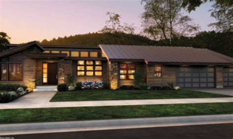 contemporary prairie style house plans small home one front rendering rambler would to add a finished