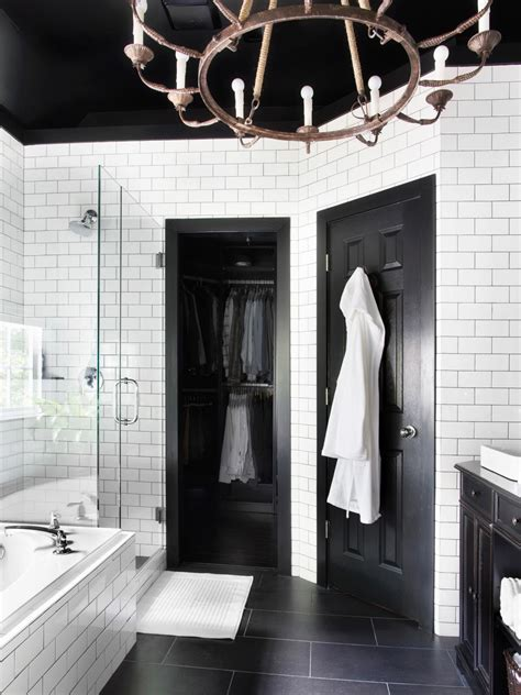 black and white bathroom pictures timeless black and white master bathroom makeover bathroom ideas designs hgtv