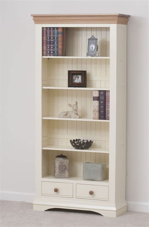 Shaker Style Bookcase by Country Cottage Painted Funiture Cabinet Cream Large