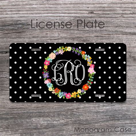 floral wreath  monogram front car tag design monogramcase
