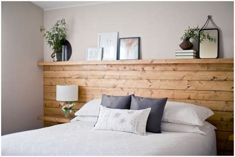 natural wood shiplap headboard wall  floating