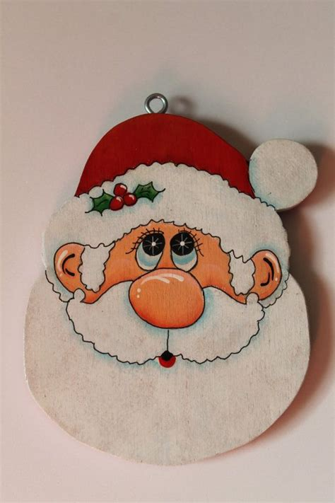 tole painted wood santa face ornament  juliescraftshop