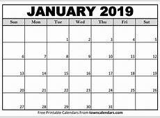 Printable January 2019 Calendar towncalendarscom