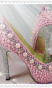 Women High Heels Shoes Pink Pearl Crystal Proforma Pumps ...