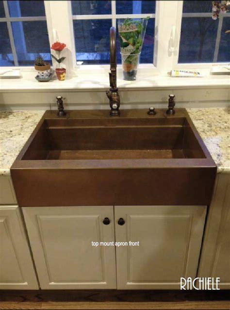 top mount apron sink retrofit copper apron farmhouse sinks top mount or under