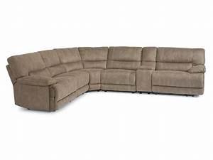 Flexsteel living room fabric power reclining sectional for Sectional sofas power recliners