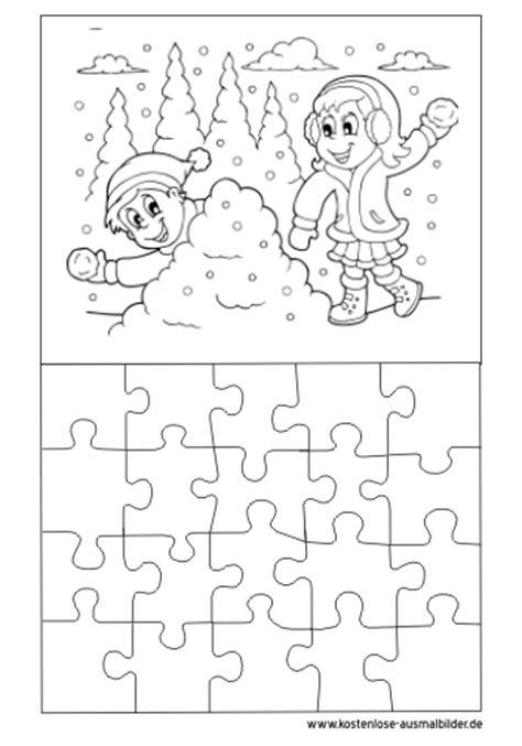 ausmalbilder malvorlagen puzzle vorlage winter