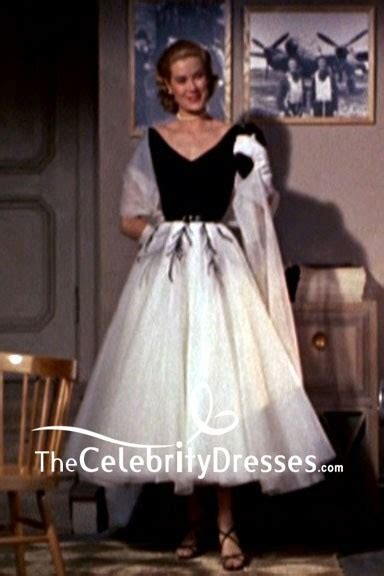 grace kelly black  white cap sleeves embroidery dress   rear window thecelebritydresses