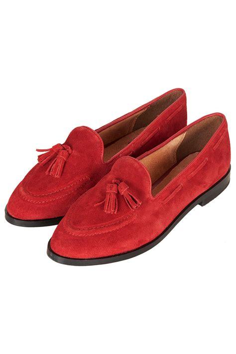 lyst topshop kiki suede tassel loafers  red