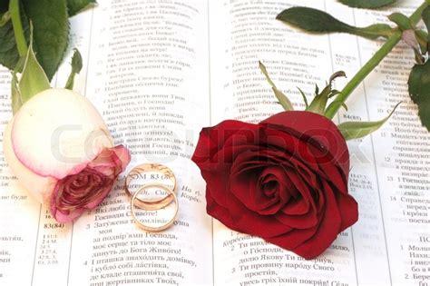 zwei rote rosen und hochzeit ringe auf bibel stock foto