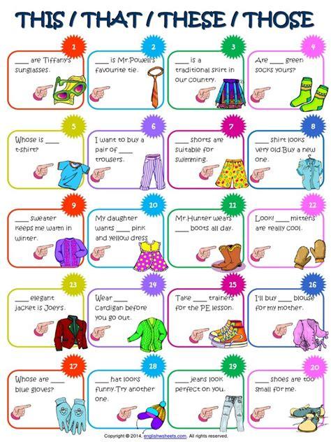 sle of worksheet for demonstrative pronouns teaching