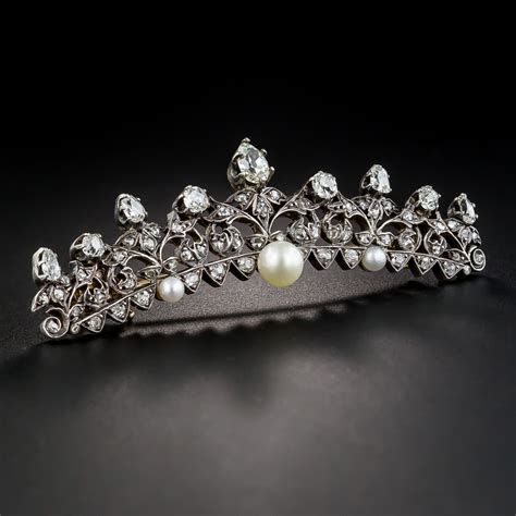victorian diamond  pearl tiara pin antique vintage