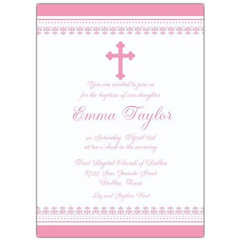 iron cross scroll pink baptism invitations paperstyle