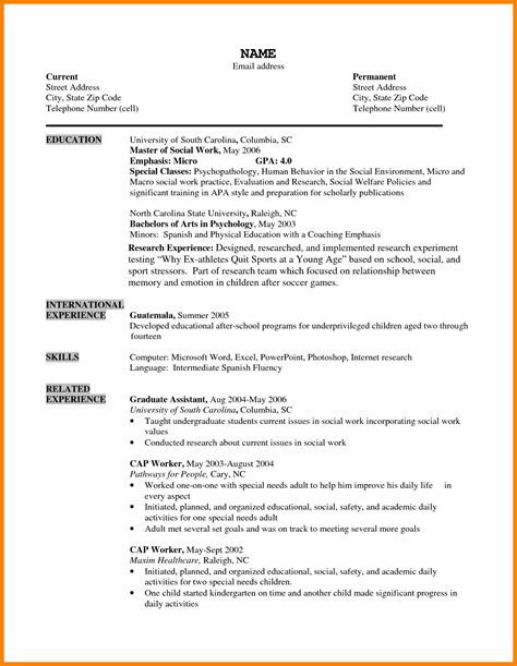 Cv Format For by 10 Cv Format Sle For Students Theorynpractice