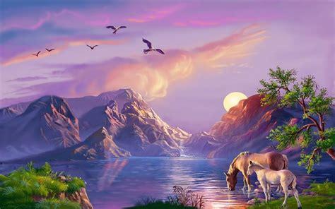beautiful fantasy art background mountain ezerokonji