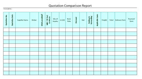 quotation comparison report format samples word