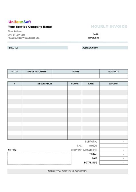 hourly invoice form    software reviews