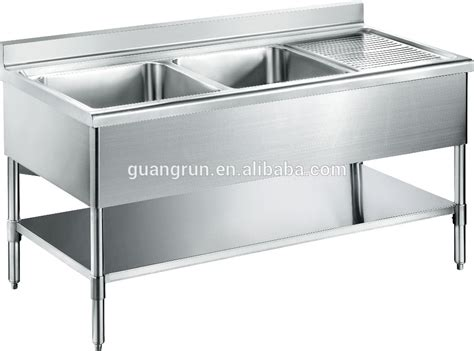 double bowl hotel used free standing commercial stainless