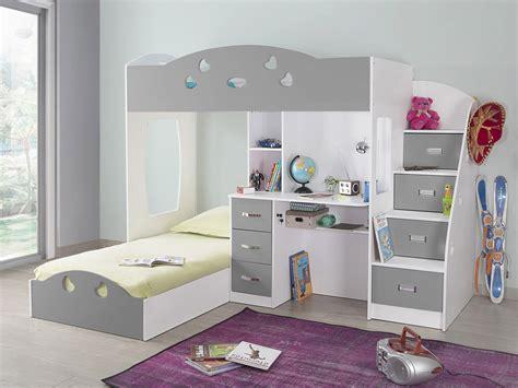 lit superposé avec rangements et bureau 90x190cm combal