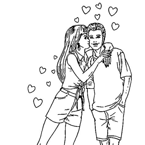 Dibujos para colorear de enamorados besandose Imagui