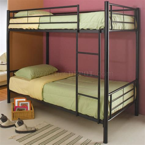 black metal modern twin over twin bunk bed w attached ladder