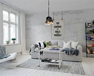 papier peint imitation brique dans la chambre a coucher With tapis de sol avec designer canapé