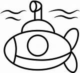 Submarine Coloring Yellow Drawing Underwater sketch template