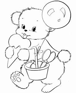 Teddy Bear Coloring pages | Cute Birthday Bear | Coloring ...