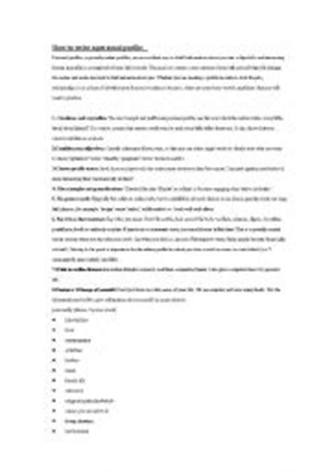 teaching worksheets personal profile