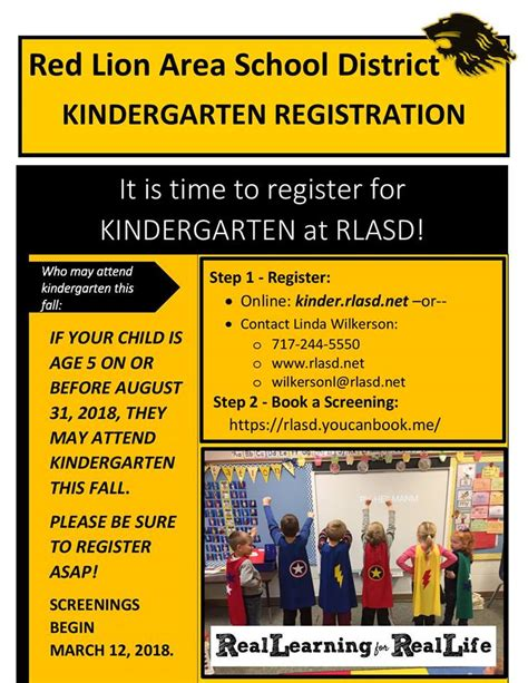 time kindergarten registration red lion area school