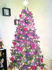 home garden christmas tree color theme pink and purple