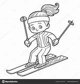 Coloring Skiing Children Savva Ksenya Depositphotos sketch template