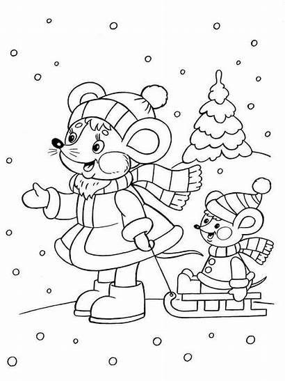 Winter Pages Coloring Nature Printable Colouring Fun