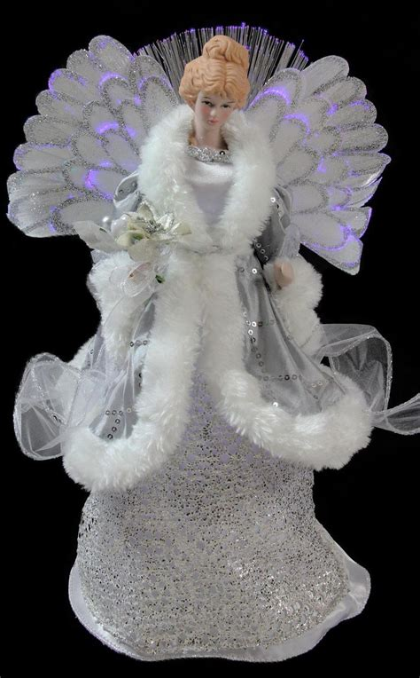battery operated angel tree toppers fiber optic tree topper silver gray 13 190 quot high