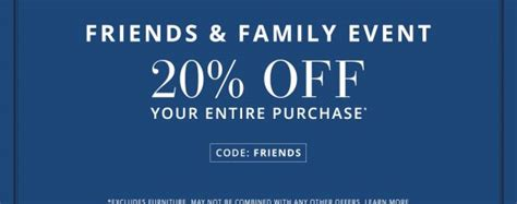 How Much Does Pottery Barn Pay by 20 At Pottery Barn During Friends Family Event