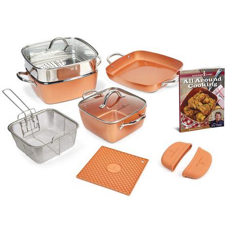 copper chef  piece square casserole cookware set  ebay