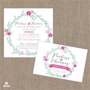 papeterie mariage couronne de fleurs mademoiselle mouche With chambre bébé design avec faire part mariage fleuri