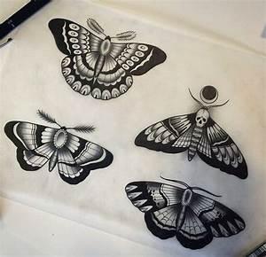Black-ink old school moth tattoo design variants ...