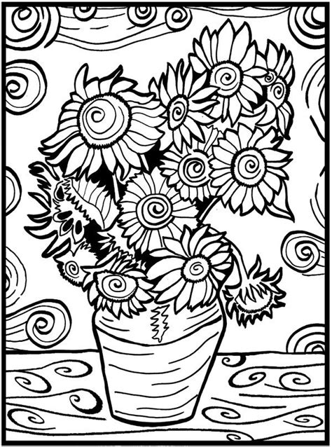 colour  picture pens included van gogh sunflowers design