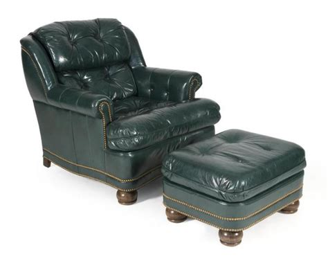 Green Leather Ottoman by Hancock Green Leather Chair And Ottoman From Hickory