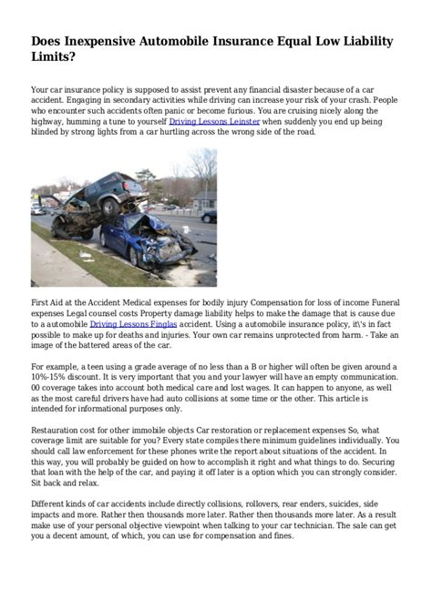 Does liability insurance cover personal damages? Does Inexpensive Automobile Insurance Equal Low Liability ...