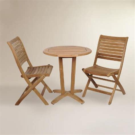 tanjun teak outdoor bistro set  folding side chairs