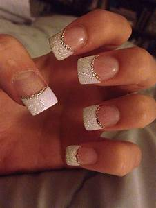 Glitter white acrylic tips with silver accent minus the ...