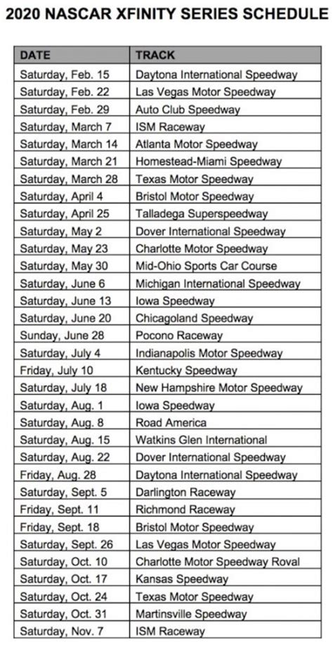 nascar truck xfinity  schedules revealed auto